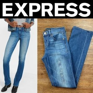 NEW EXPRESS MEDIUM WASH MID RISE BARELY BOOT JEANS